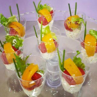 deliziosi finger food insalata e peperone